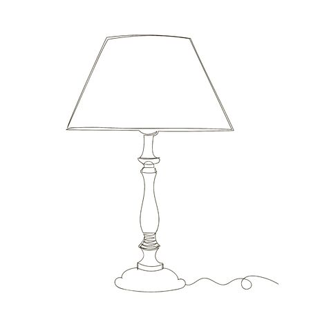 classic table lamp. vector linear image of the lamp. infinite line. one line Foto de archivo - 135021894