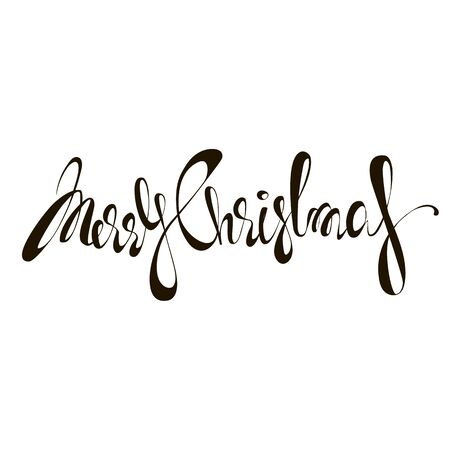 Merry Christmas. vector image. calligraphic inscription Foto de archivo - 135023687