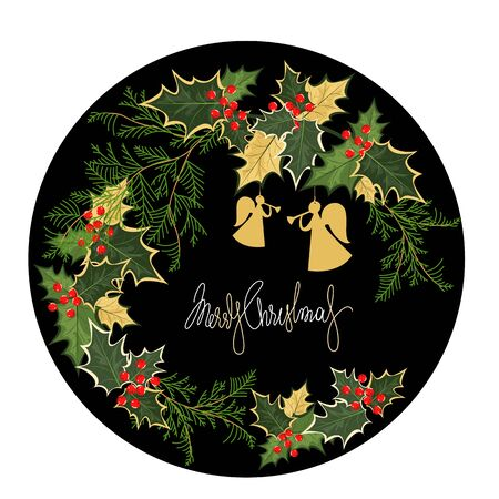 merry Christmas. vector image with Holly and thuja leaves. greeting card 向量圖像