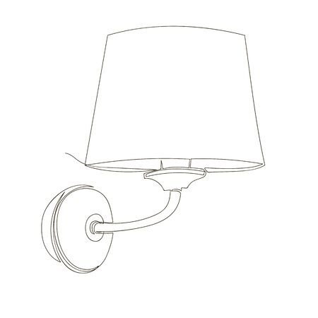 wall lamp. vector linear image of a classical lamp with a lampshade. infinite line. one line Foto de archivo - 135023335