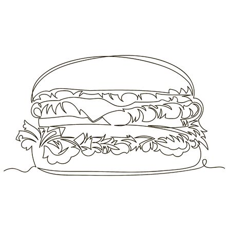 burger. vector outline image of a hamburger. fast food. one line. continuous line Ilustrace