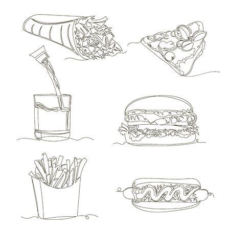 fast food. vector linear image of junk food. set of contour pictures. one line Foto de archivo - 135494425