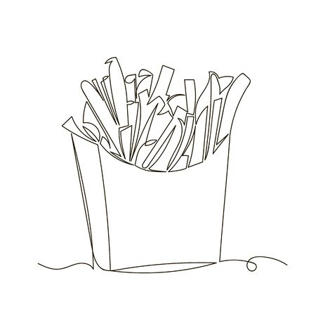French fries. vector outline image of a pack of fried potatoes. one line. continuous line Foto de archivo - 135494429