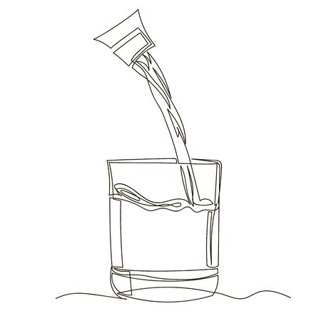 glass of water. vector contour image. one line. water pours into a glass Foto de archivo - 135462037
