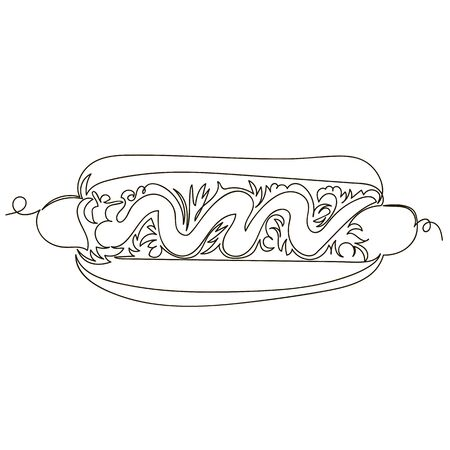 hot dog. vector outline image of sausage with sauce and vegetables. one line. continuous line Foto de archivo - 135494432