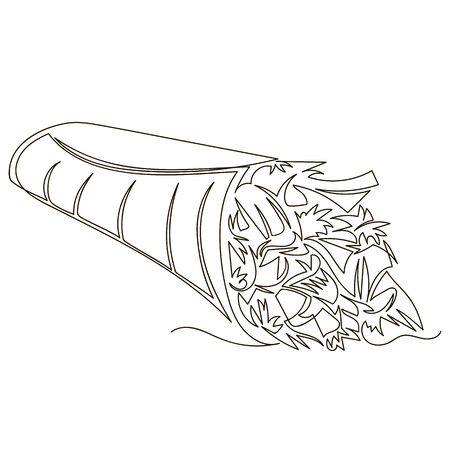 Shawarma. vector outline image of Arabic street food. one line. continuous line Ilustracja