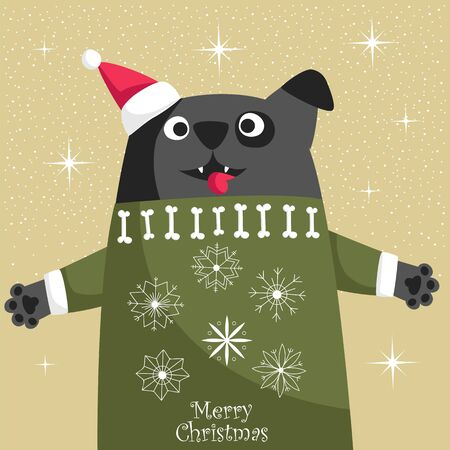 Christmas card with a dog. a dog in a Santa hat and a knitted sweater. vector illustration Foto de archivo - 136156002