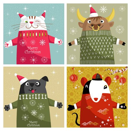 Christmas card. set of greeting banners. vector illustration with animals