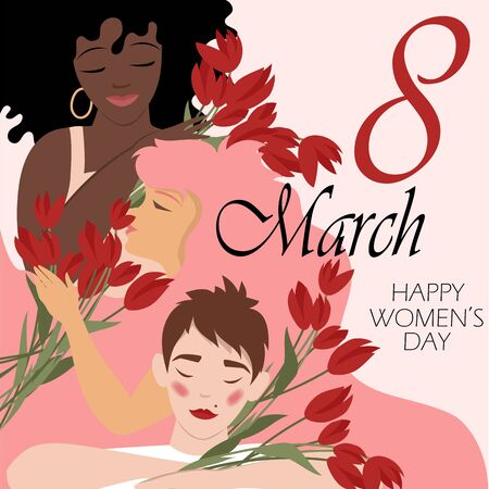 March 8. International women day. vector image of women of different races with flowers Foto de archivo - 136156005