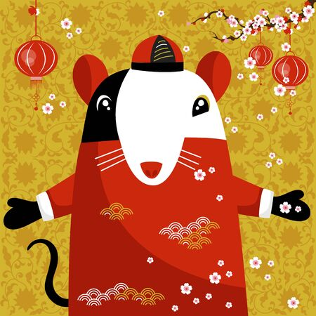 year of rat. Chinese new year. vector image of a rat. traditional Chinese ornament Foto de archivo - 136156007