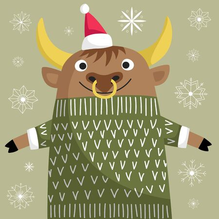year of the bull. vector image of an animal. bull in Santa hat and knitted sweater Foto de archivo - 136156008