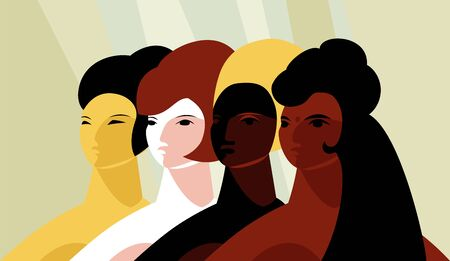 people of different races. international day of friendship of peoples. vector image of women Foto de archivo - 136885145
