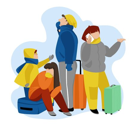 people with Luggage at the airport. vector illustration. family waiting for a tourist trip Foto de archivo - 136885226