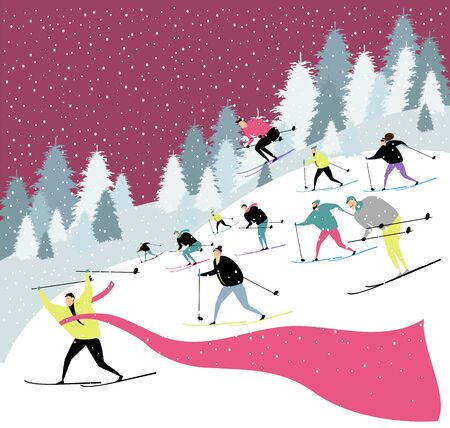 skiers. ski competition. vector image of people engaged in skiing