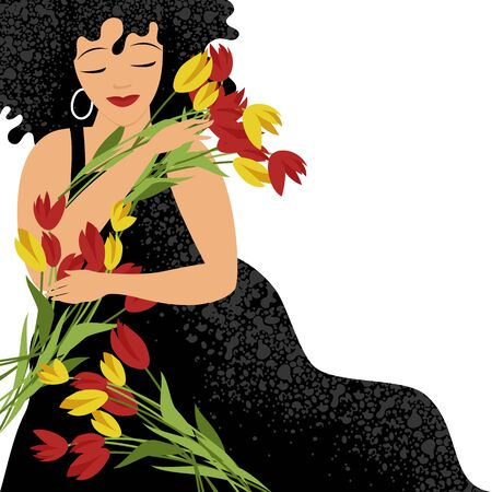 woman with flowers. vector image of a woman with a bouquet of tulips. holiday 8 March Foto de archivo - 136885230