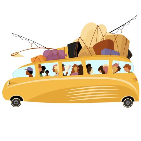bus with people. vector image of traveling people. the transport of Luggage Foto de archivo - 137410646