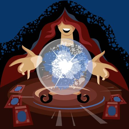 divination. vector image of a witch with a crystal ball. a woman predicts the future