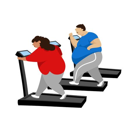 people on the treadmill. vector image of fat people doing sports for health Foto de archivo - 137410660
