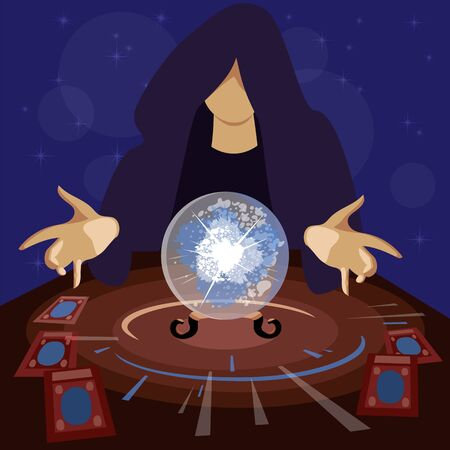 sorcerer. a man is guessing on a glass ball. magic predictions. occult session. vector image Vettoriali