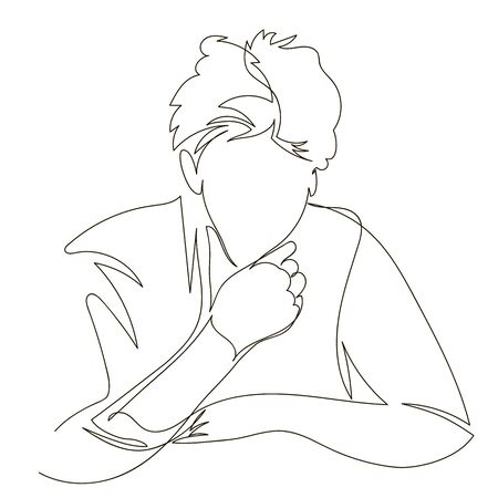 the person thinks. vector contour image with one continuous line. portrait of a man outline