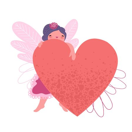 a little girl with a heart. a sorceress with wings. fairytale character. Valentine's day Foto de archivo - 137411420