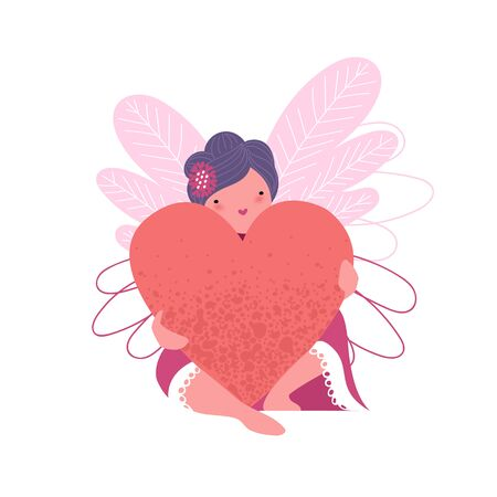 Valentine's day. a sorceress with a heart. vector image of a fairy with wings Иллюстрация