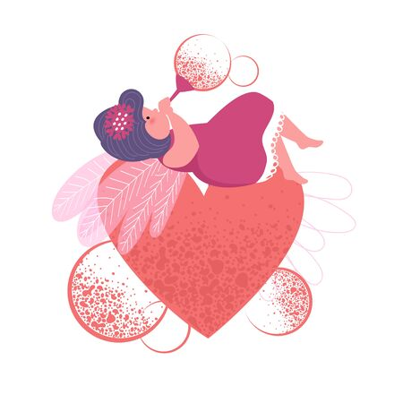 Valentine's day. a sorceress with a heart. vector image of a fairy-tale character