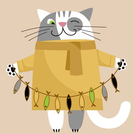 cat with fish. vector image of a cute kitten. flat illustration of a cat in a dress
