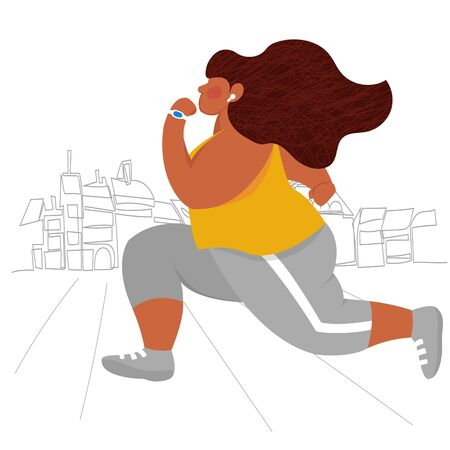 girl Sprinter. female runner. vector image of a person engaged in sports in the city 矢量图像
