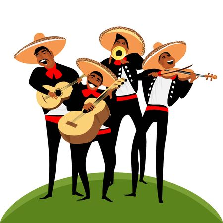 Mariachi. Mexican band of musicians. trumpeters and guitarists. vector image