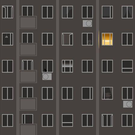 Windows at night. vector image of building Windows at night
