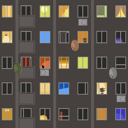 Windows of the house. vector image of Windows of a residential building Stock Illustratie