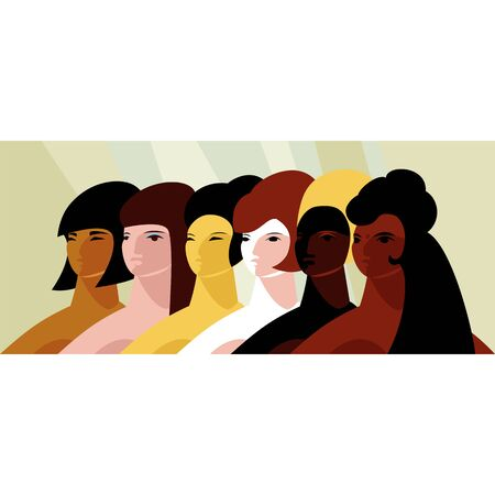 women of different races. stop racism. vector illustration of girls of different nationalities Vettoriali