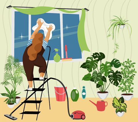 house cleaning. a woman washes a window in the interior. vector image of cleaning products