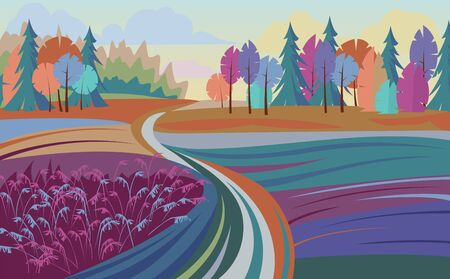 natural scenery. countryside. country view. color vector illustration 矢量图像