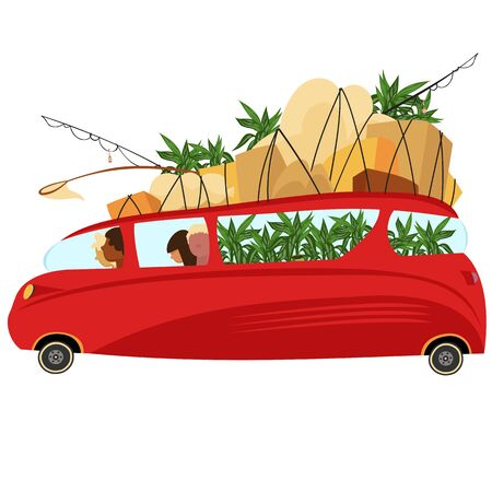 transportation of plants. a family with Luggage carries plants on the bus. vector