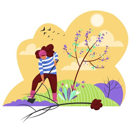 a woman plants a tree. vector image of a girl in nature in spring