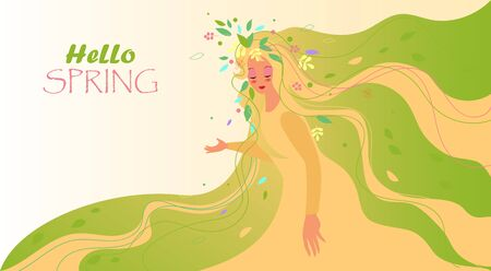 Hello spring. vector image of a woman in a dress with spring leaves