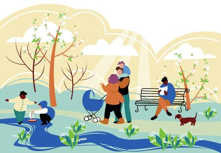 people walk. people with children walking in the spring Park. vector image