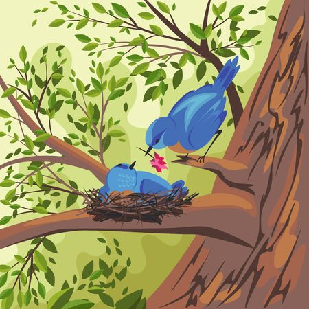 the bird is blue. vector image of a bird on a nest. landscape of nature. nest on a tree branch