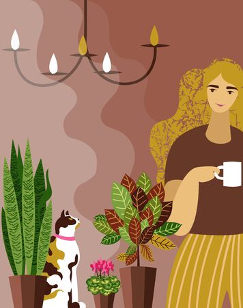 woman at the window. vector image of a woman with a Cup of coffee at an open window with plants and a cat