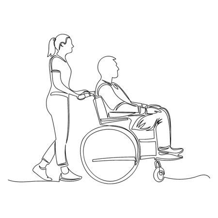 a man in a wheelchair. a woman carries a man in a wheelchair. vector illustration 矢量图像