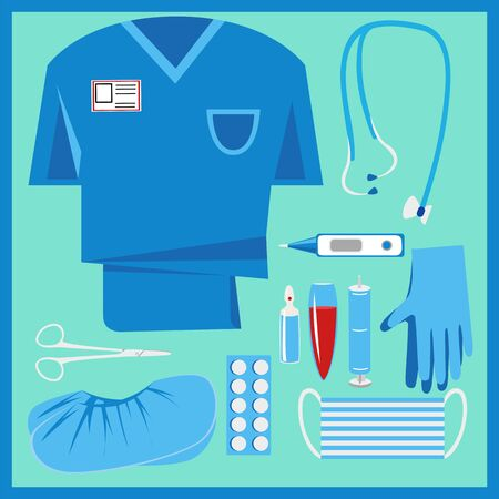 medical kit. first aid kit. the tools and clothing of the General practitioner. vector image 矢量图像