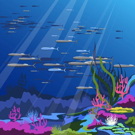 ocean bottom. vector illustration of marine plants and fish. colored corals and sea urchins Ilustração