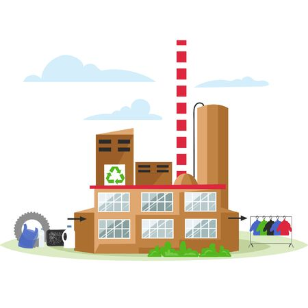 recycling plant. vector illustration of ecological waste recycling. secondary production