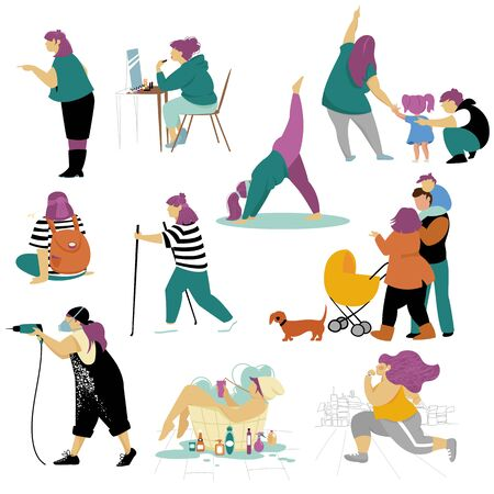 woman. vector image of a woman in various fields of activity. set of isolated images 矢量图像