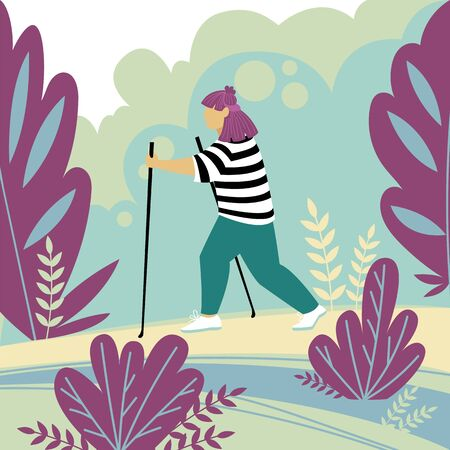 Nordic walking. a woman is engaged in sports in nature. vector illustration