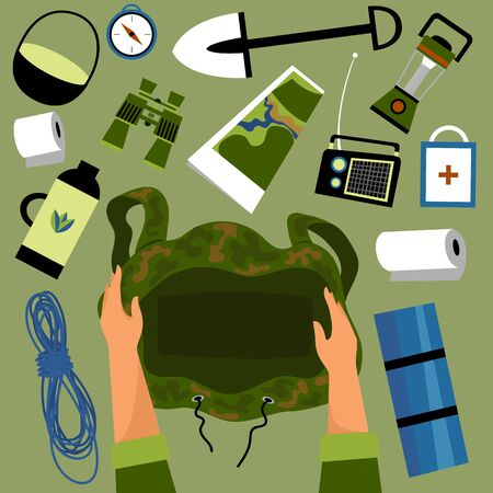 tourist ammunition. vector image of necessary things for a tourist. the person collecting the backpack