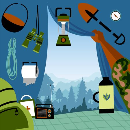 tourist in a tent on a hike. view from the tent on the mountain landscape. vector image