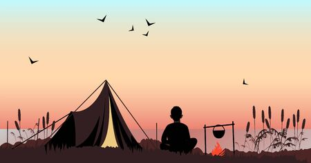 tourist. a person is resting in nature with a tent. vector image 矢量图像